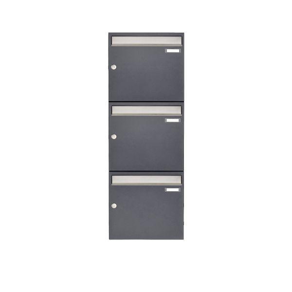 3er 3x1 Aufputz Briefkastenanlage Design BASIC 382 AP - Edelstahl-RAL 7016 anthrazitgrau