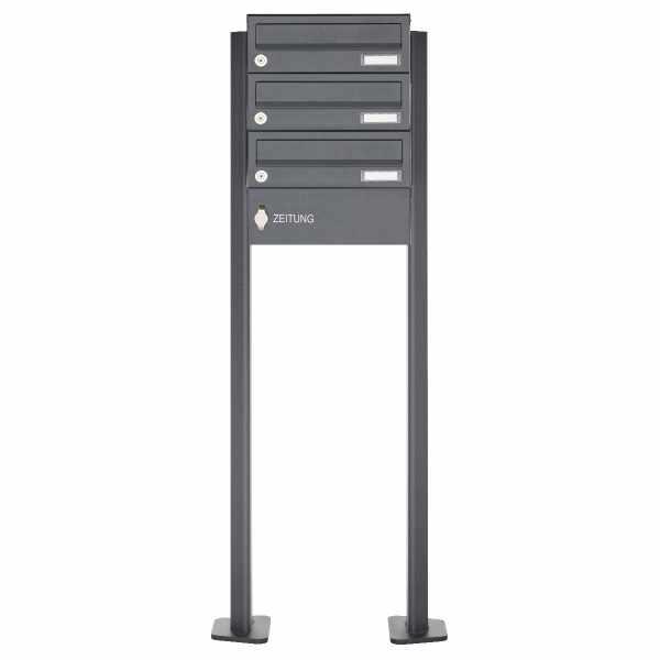 3er Standbriefkasten Design BASIC 385P-7016 ST-T mit Zeitungsfach - RAL 7016 anthrazitgrau