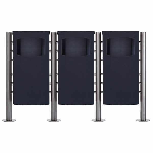 3-fach Edelstahl Abfalleimer - Abfallbehälter Design BASIC 650X - 45 Liter - RAL nach Wahl