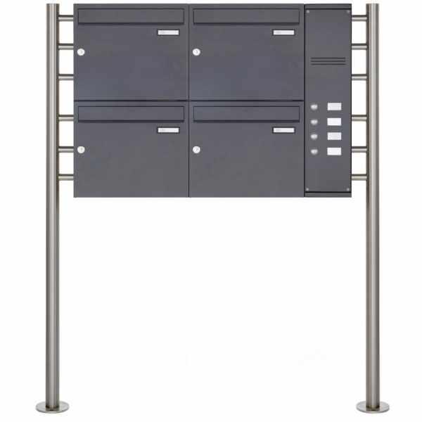 4er Edelstahl Standbriefkasten BASIC Plus 593 ST-R pulverbeschichtet - Klingelkasten - INDIVIDUELL