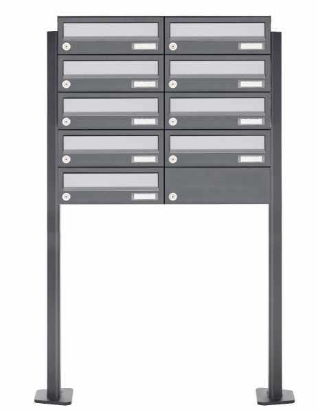 9er Briefkastenanlage freistehend Design BASIC 385P ST-T - Edelstahl-RAL 7016 anthrazitgrau