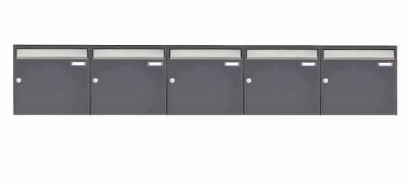 5er 1x5 Aufputz Briefkastenanlage Design BASIC 382 AP - Edelstahl-RAL 7016 anthrazitgrau