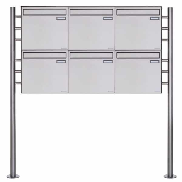 6er 2x3 Zaunbriefkasten freistehend Design BASIC Plus 381XZ ST-R - Edelstahl geschliffen