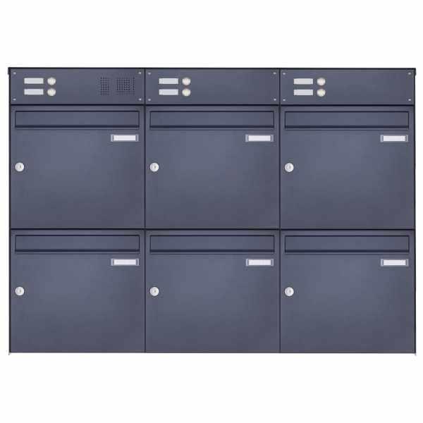6er 3x2 Edelstahl Aufputz Briefkasten Design BASIC Plus 382XA AP mit Klingelkästen- RAL nach Wahl