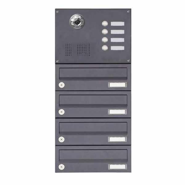 4er Aufputzbriefkasten BASIC Plus 385KXA AP mit Klingelkasten - Kameravorbereitung