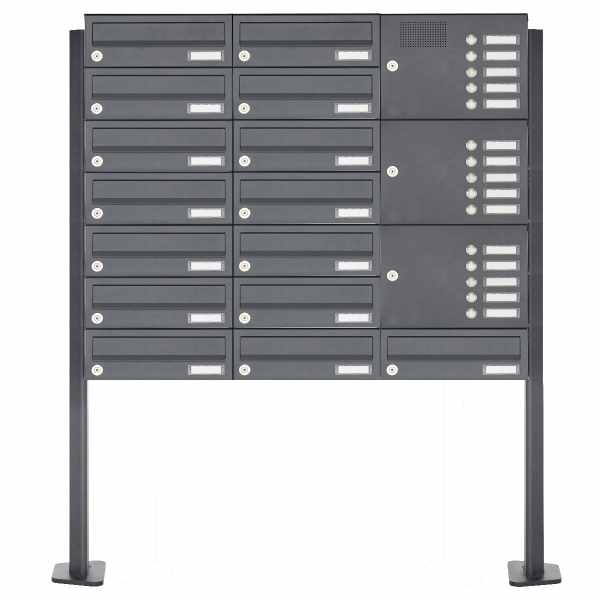 15er Edelstahl Standbriefkasten Design BASIC Plus 385XP ST-T mit Klingelkasten - RAL nach Wahl