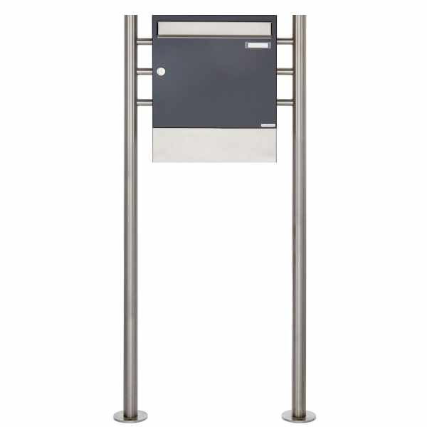 Standbriefkasten Design BASIC 381 ST-R mit Zeitungsfach - Edelstahl-Anthrazit-Grau RAL 7016