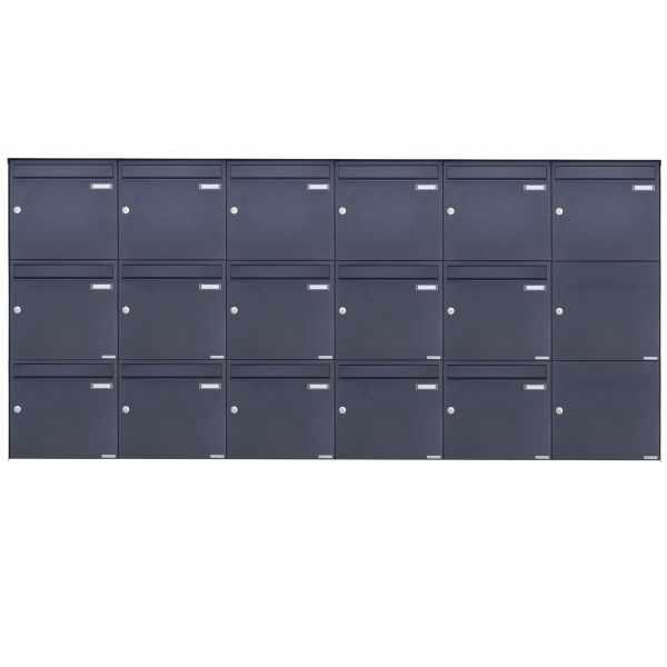 16er 3x6 Edelstahl Aufputz Briefkasten Design BASIC Plus 382XA AP - RAL nach Wahl