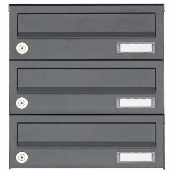 3er Aufputz Briefkastenanlage Design BASIC 385A AP - RAL 7016 anthrazitgrau