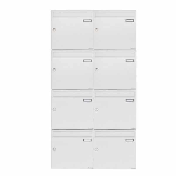 8er 4x2 Aufputz Briefkastenanlage Design BASIC 382A AP - RAL 9016 verkehrsweiß