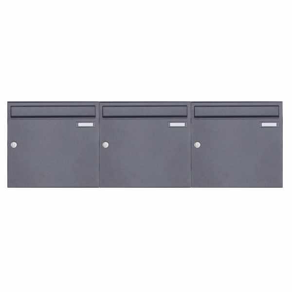 3er 1x3 Aufputz Briefkasten Design BASIC 382A AP - DB703 eisenglimmer