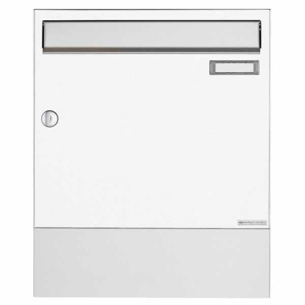 Aufputz Briefkasten Design BASIC 382A AP mit Zeitungsfach VA - Edelstahl-RAL 9016 verkehrsweiß