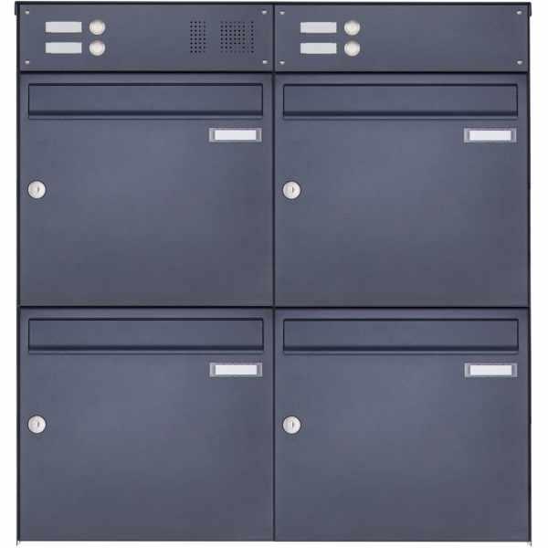 4er Edelstahl Aufputz Briefkasten Design BASIC Plus 382XA AP mit Klingelkasten- RAL nach Wahl