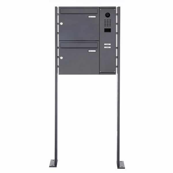 2er Edelstahl Standbriefkasten BASIC Plus 592C ST-P mit DoorBird D2100E Video- Sprechanlage - RAL