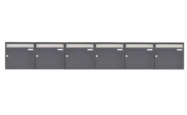 6er 1x6 Aufputz Briefkastenanlage Design BASIC 382 AP - Edelstahl-RAL 7016 anthrazitgrau