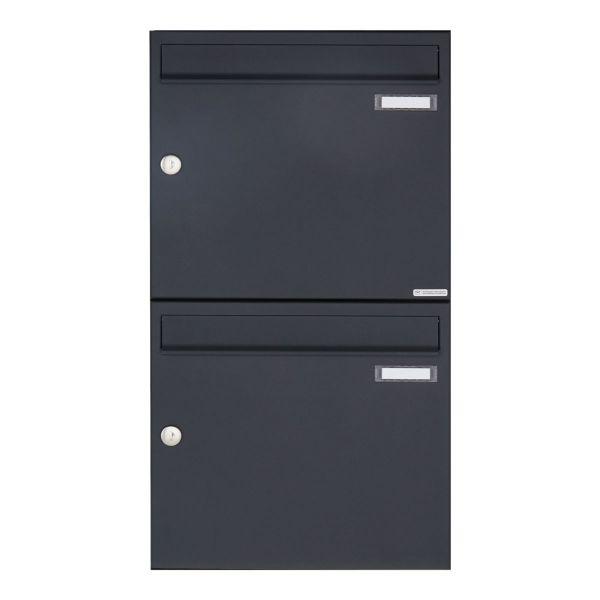2er 2x1 Aufputz Briefkasten Design BASIC 382A AP - RAL 7016 anthrazitgrau