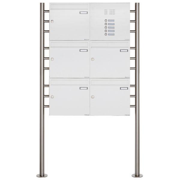 5er 3x2 Standbriefkasten Design BASIC 381 ST-R mit Klingelkasten - RAL 9016 verkehrsweiß