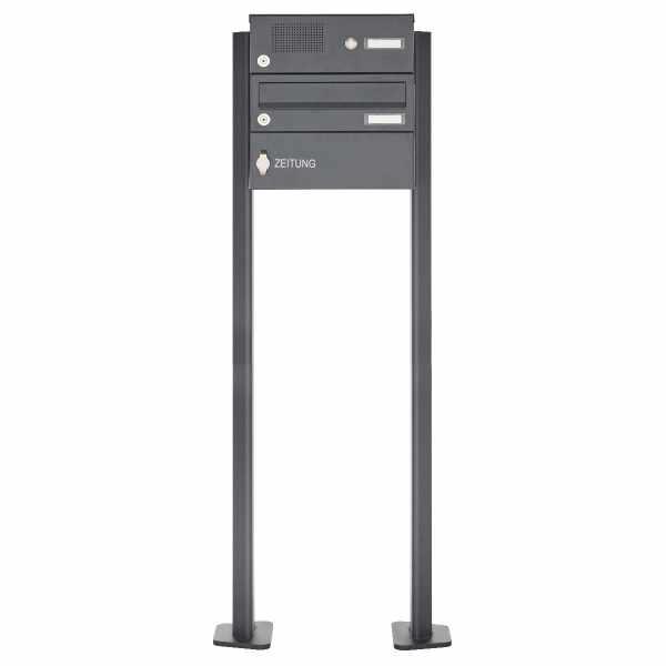 1er Standbriefkasten Design BASIC 385P-7016-SP-ZF mit Klingel-Funktionskasten - RAL 7016