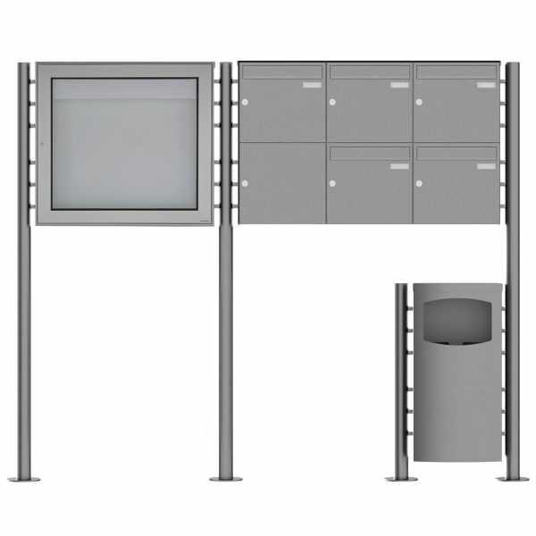 5er 2x3 Edelstahl Standbriefkasten Design BASIC Plus 381X ST-R mit Abfallbehälter & Schaukasten