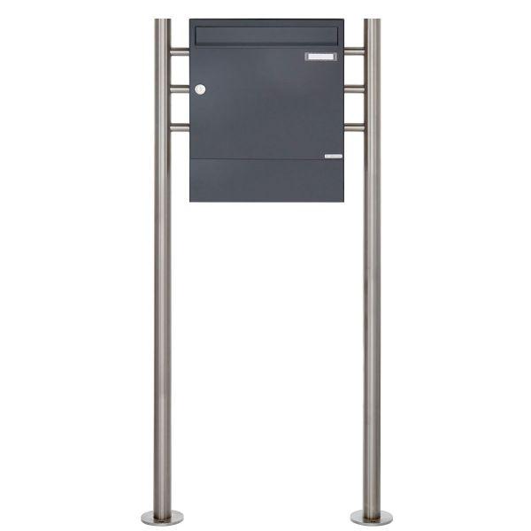 Standbriefkasten Design BASIC 381 ST-R mit Zeitungsfach - RAL 7016 anthrazitgrau