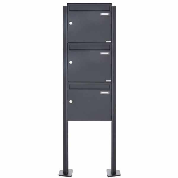 3er 3x1 Edelstahl Standbriefkasten Design BASIC Plus 380X ST-T - RAL nach Wahl