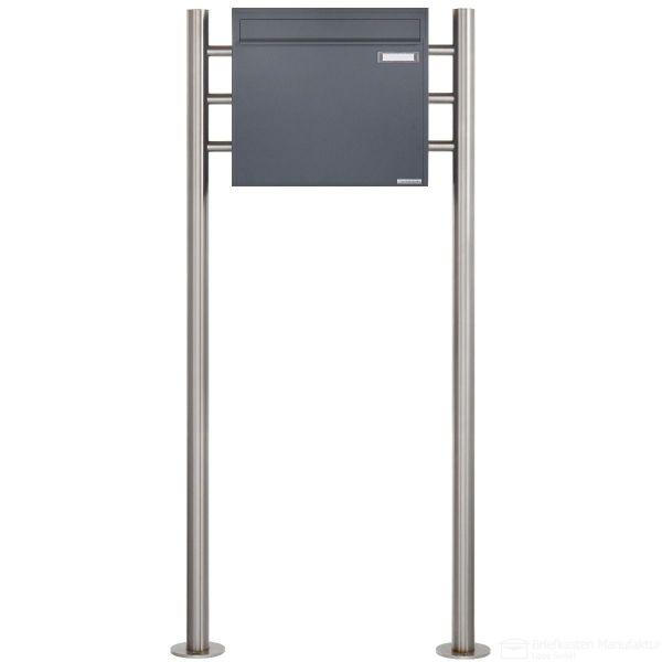 Standbriefkasten als Zaunbriefkasten BASIC 381Z ST-R - Anthrazit-Grau RAL 7016 - Entnahme rückseitig
