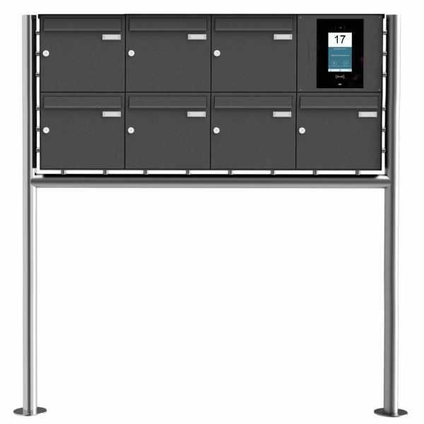 7er Edelstahl Standbriefkasten BASIC Plus 381X ST-R - RAL- STR Digitale Türstation - Komplettset