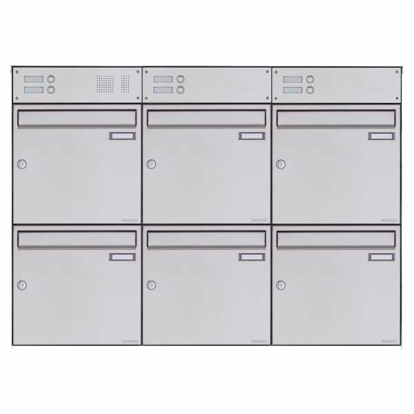6er 3x2 Edelstahl Aufputz Briefkasten Design BASIC Plus 382XA AP mit Klingelkasten - Edelstahl V2A