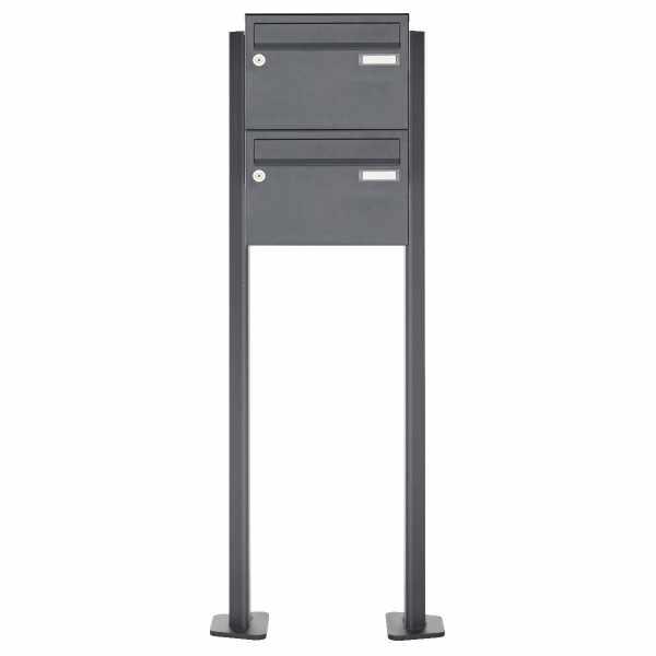 2er Edelstahl Briefkastenanlage freistehend Design BASIC Plus 385XP220 ST-T - RAL nach Wahl
