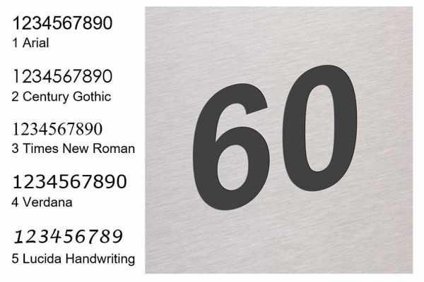 Hausnummer als Lasergravur, grau