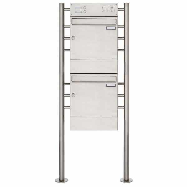2er 2x1 Edelstahl Standbriefkasten Design BASIC 381 ST-R mit Klingelkasten & Zeitungsfach