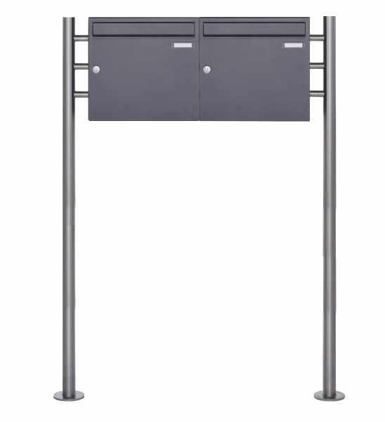 2er 1x2 Standbriefkasten Design BASIC 381 ST-R - DB703 eisenglimmer