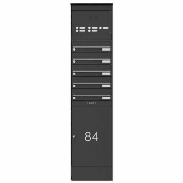 5er Edelstahl Briefkastenstele BASIC Plus 864X mit Paketfach 550x370 & Klingelkasten - RAL nach Wahl