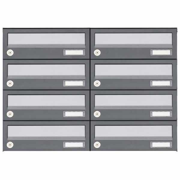 8er 4x2 Aufputz Briefkastenanlage Design BASIC 385A AP - Edelstahl-RAL 7016 anthrazit