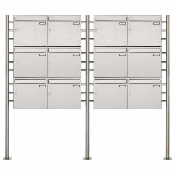 12er 3x4 Edelstahl Standbriefkasten Design BASIC 381 ST-R