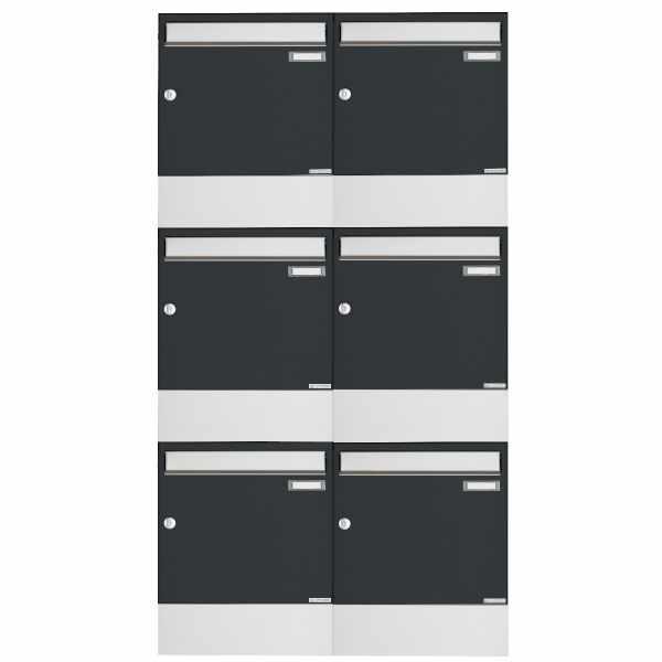 6er 3x2 Aufputz Briefkasten BASIC 382A AP mit Zeitungsfach - Edelstahl-RAL 7016 anthrazitgrau
