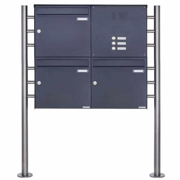 3er Edelstahl Standbriefkasten Design BASIC Plus 381X ST-R mit Klingelkasten - RAL nach Wahl