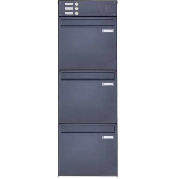 3er 3x1 Edelstahl Zaunbriefkasten BASIC Plus 382XZ mit Klingelkasten - RAL - Entnahme rückseitig