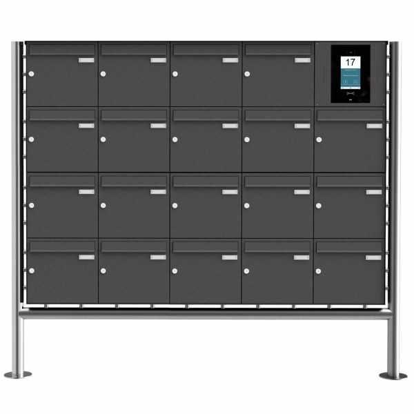 19er Edelstahl Standbriefkasten BASIC Plus 381X ST-R - RAL- STR Digitale Türstation - Komplettset