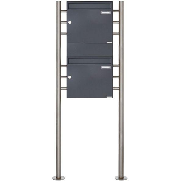 2er 2x1 Standbriefkasten Design BASIC 381 ST-R mit 1x Zeitungsfach - RAL 7016 anthrazitgrau