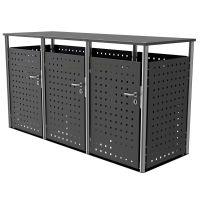 Edelstahl Mülltonnenbox BASIC 750V1 - 3-fach - RAL nach Wahl