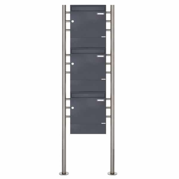 3er 3x1 Standbriefkasten Design BASIC 381 ST-R mit Zeitungsfächer - RAL 7016 anthrazitgrau