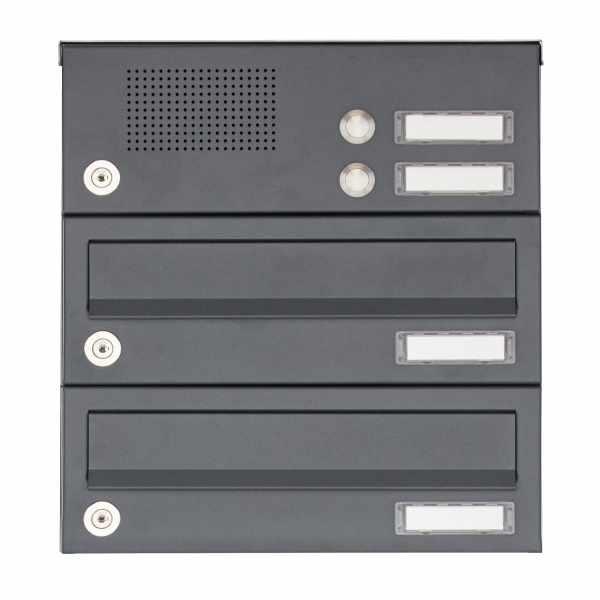 2er Aufputz Briefkastenanlage Design BASIC 385A AP mit Klingelkasten - RAL 7016 anthrazitgrau
