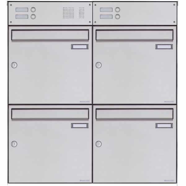 4er Edelstahl Aufputz Briefkasten Design BASIC Plus 382XA AP mit Klingelkasten - Edelstahl V2A