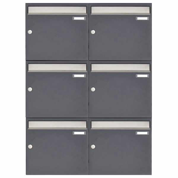 6er 2x3 Aufputz Briefkasten Design BASIC 382A AP - Edelstahl-RAL 7016 anthrazitgrau