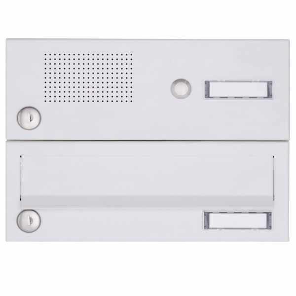 1er Aufputz Briefkastenanlage Design BASIC 385A-9016 AP mit Klingelkasten - RAL 9016 verkehrsweiß
