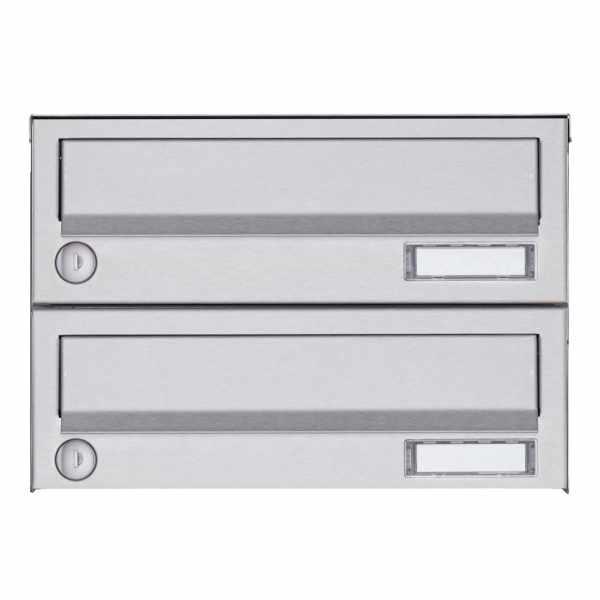 2er Aufputz Briefkastenanlage Design BASIC 385A AP - Edelstahl V2A, geschliffen
