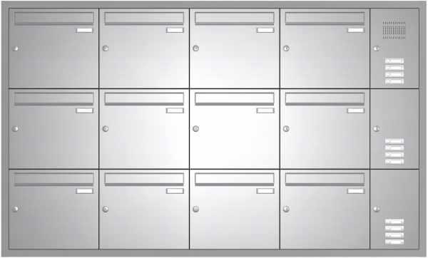 12er Edelstahl Unterputz Briefkastenanlage BASIC 534 UP SP- mit Klingelkasten
