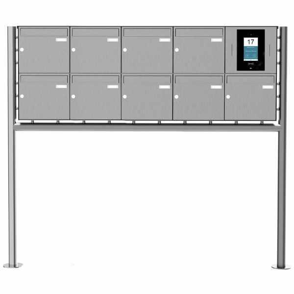 9er Edelstahl Standbriefkasten BASIC Plus 381X ST-R - STR Digitale Türstation - Komplettset