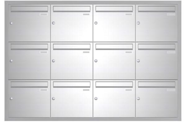 Unterputz Briefkasten BASIC 534 UP - Edelstahl V2A geschliffen - 12 Parteien